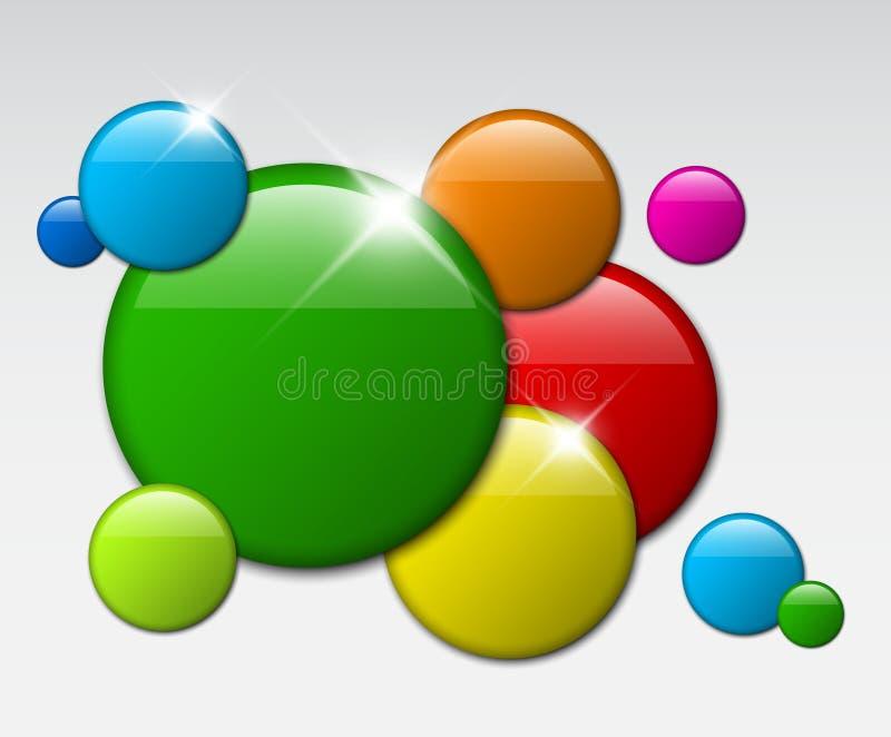 Vector la priorità bassa astratta con i distintivi del cerchio illustrazione vettoriale