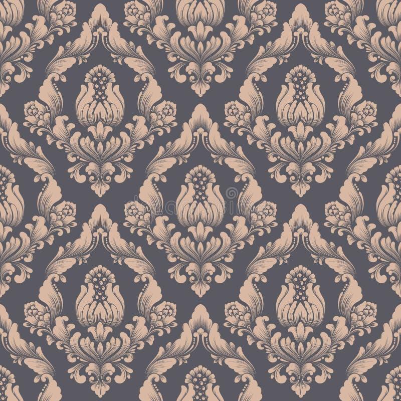 Vector la priorità bassa senza giunte del reticolo del damasco Ornamento antiquato di lusso classico del damasco, senza cuciture  royalty illustrazione gratis