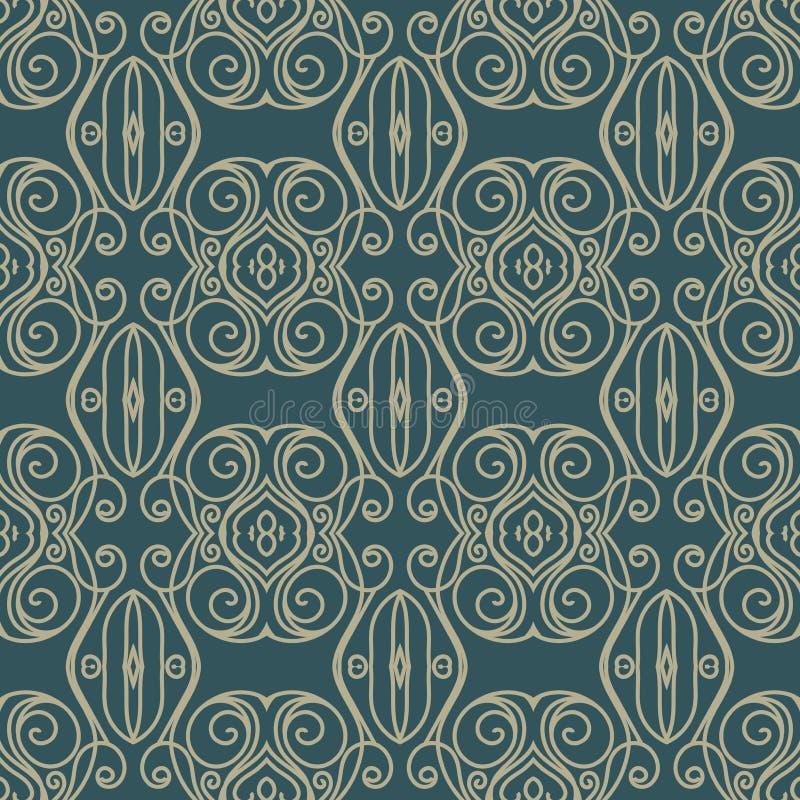 Vector la priorità bassa senza giunte del reticolo del damasco La struttura di lusso elegante per le carte da parati, gli ambiti  illustrazione vettoriale