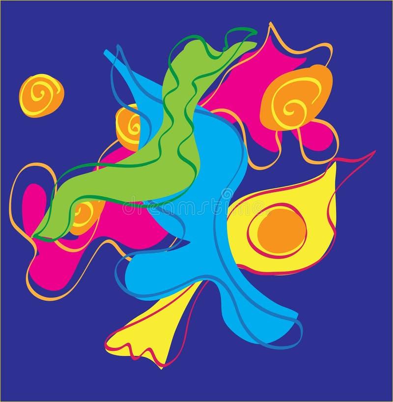 Vector la progettazione astratta con le forme e le linee curvy di scorrimento Arancio, giallo, verde, rosa, magenta, turchese, ac fotografia stock libera da diritti