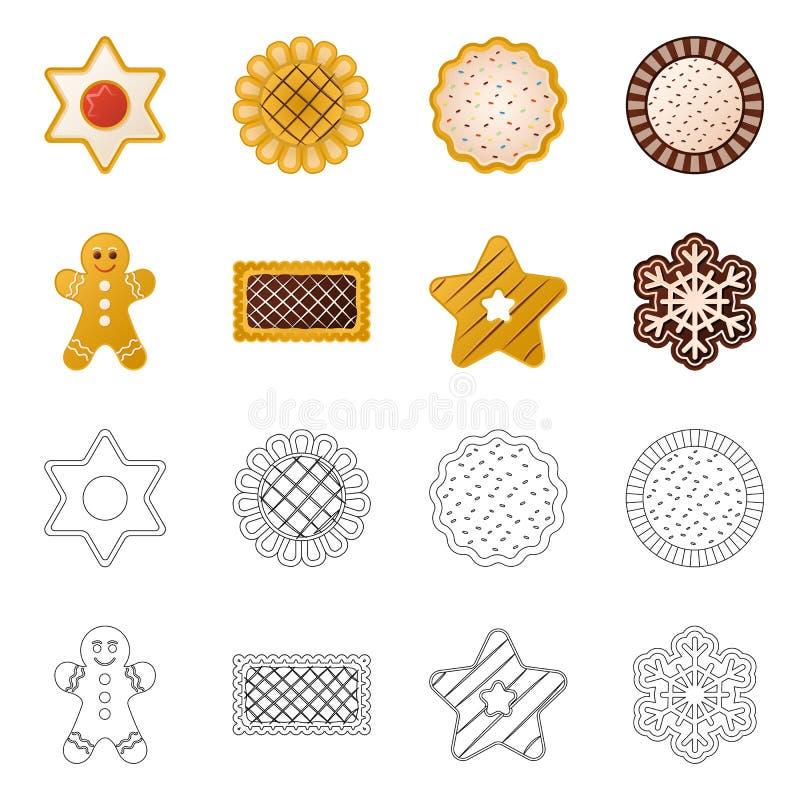 Vector la progettazione del biscotto e cuocia il simbolo Insieme dell'illustrazione di riserva di vettore del cioccolato e del bi illustrazione di stock