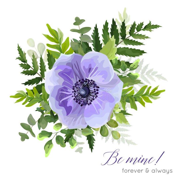 Vector la progettazione di carta botanica elegante floreale con il bl ultravioletto royalty illustrazione gratis