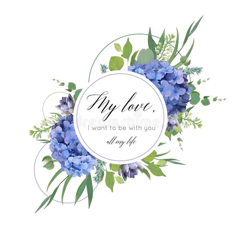 Vector la progettazione di carta floreale con il mazzo elegante dell'ortensia blu royalty illustrazione gratis