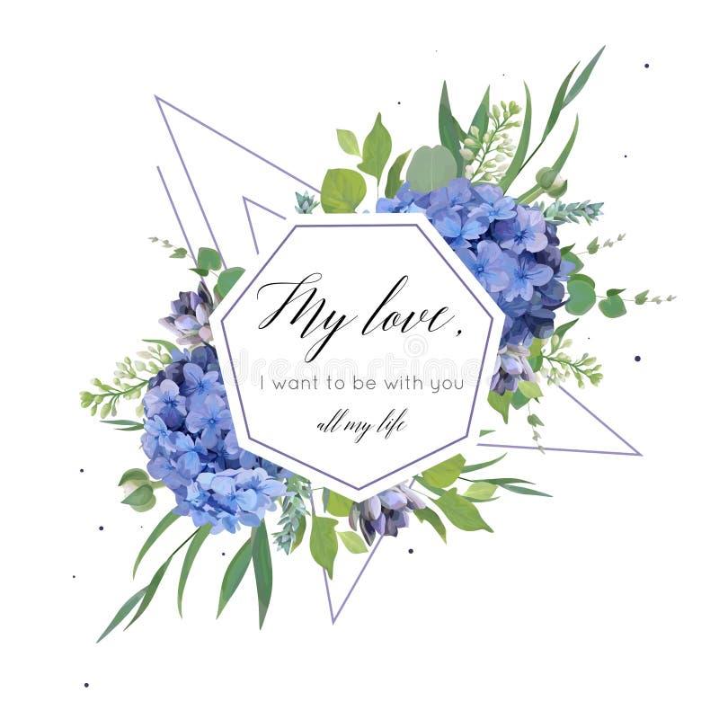 Vector la progettazione di carta floreale con il mazzo elegante dell'ortensia blu illustrazione vettoriale