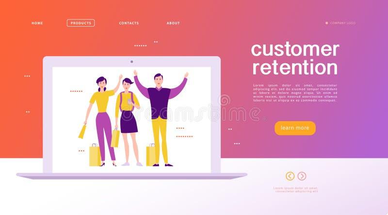 Vector la progettazione di massima della pagina Web - tema della conservazione del cliente royalty illustrazione gratis