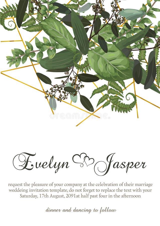 Vector la progettazione floreale della carta con l'acquerello verde, eucalyptus, per illustrazione vettoriale