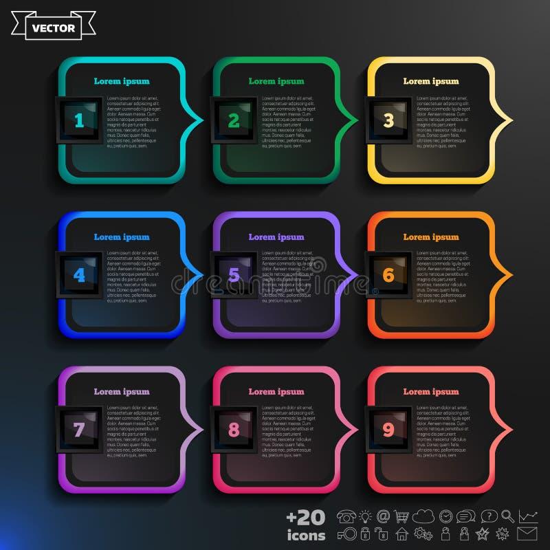 Vector la progettazione infographic con i quadrati variopinti sui precedenti neri illustrazione di stock