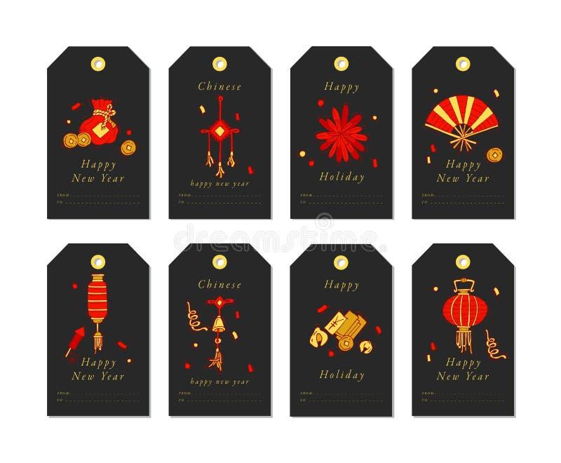 Vector la progettazione lineare per i saluti cinesi del nuovo anno con gli elementi tradizionali e i itams su fondo bianco Natale illustrazione di stock