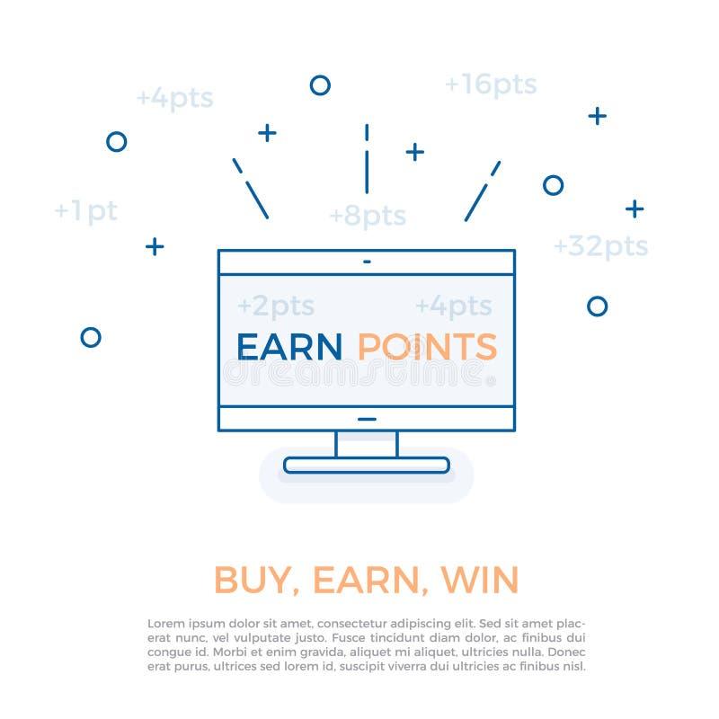 Vector la progettazione per i programmi della ricompensa di affari e la strategia di lealtà del cliente guadagnando i punti L'aff illustrazione di stock