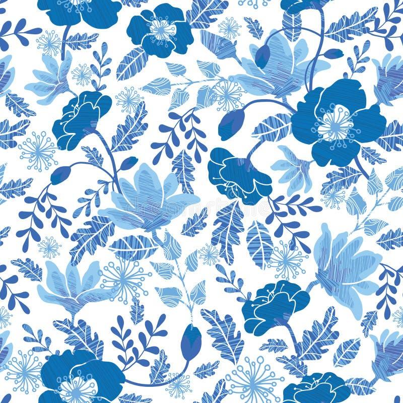 Vector la progettazione senza cuciture del bacgkround del modello di ripetizione dei fiori strutturati blu della molla del denim  illustrazione vettoriale