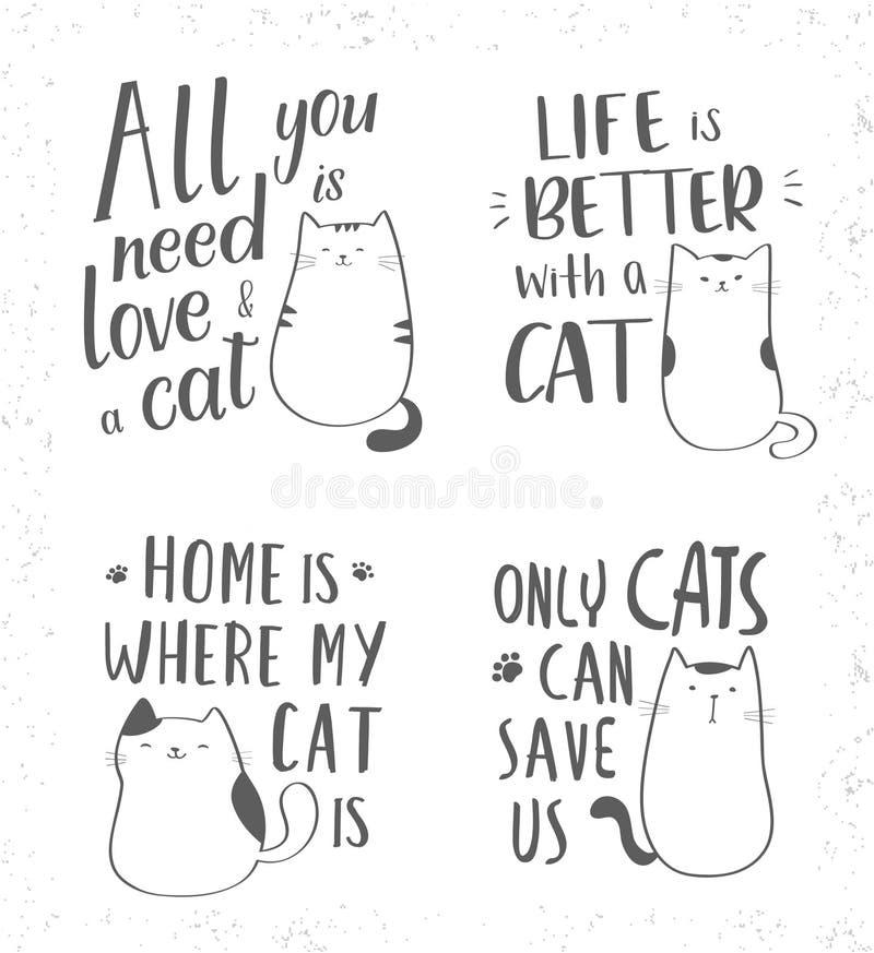 Vector la raccolta con i qoutes ispiratori ed i gatti svegli illustrazione vettoriale