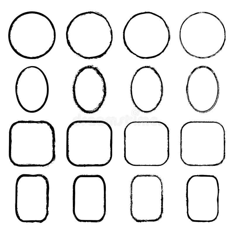 Vector la raccolta dei telai rotondi, ovali, quadrati, rettangolari inchiostro-disegnati di lerciume royalty illustrazione gratis