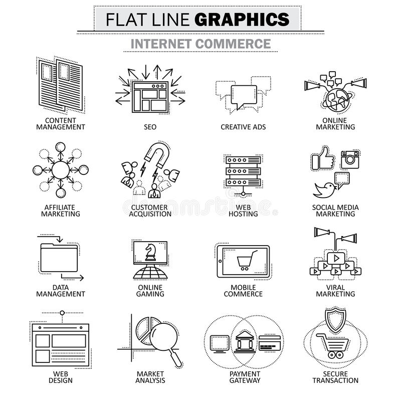 Vector la raccolta dell'icona del concetto del commercio di Internet illustrazione di stock