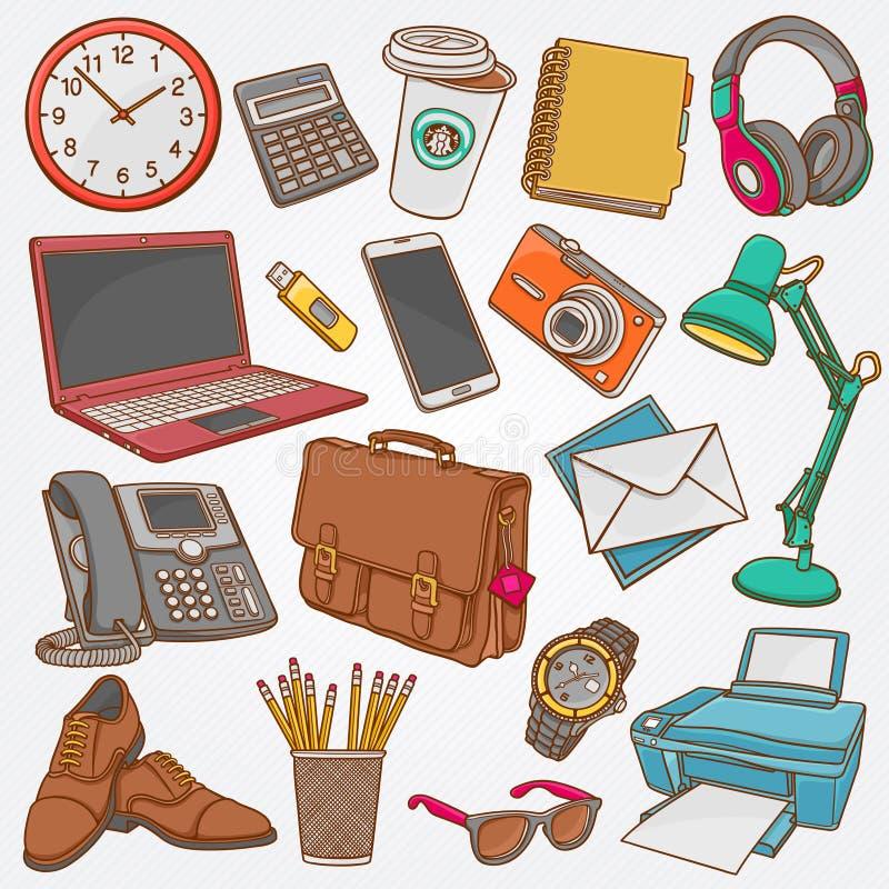 Vector la raccolta dell'illustrazione degli scarabocchi disegnati a mano degli oggetti business e degli elementi dell'ufficio illustrazione vettoriale