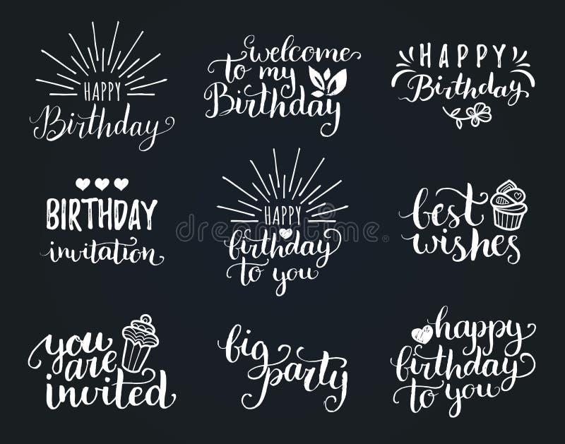 Vector la raccolta dell'iscrizione della mano di buon compleanno, il grande partito, gli auguri ecc Calligrafia fissata per le ca illustrazione vettoriale