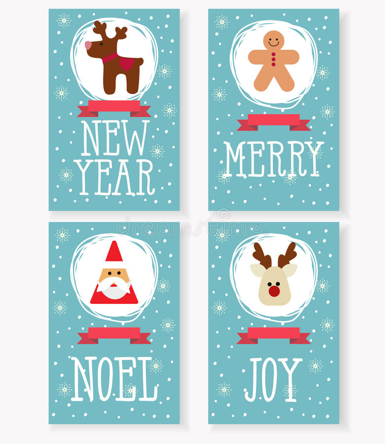 Vector la raccolta delle cartoline di Natale, con il Babbo Natale, cervi, uomo di pan di zenzero illustrazione di stock
