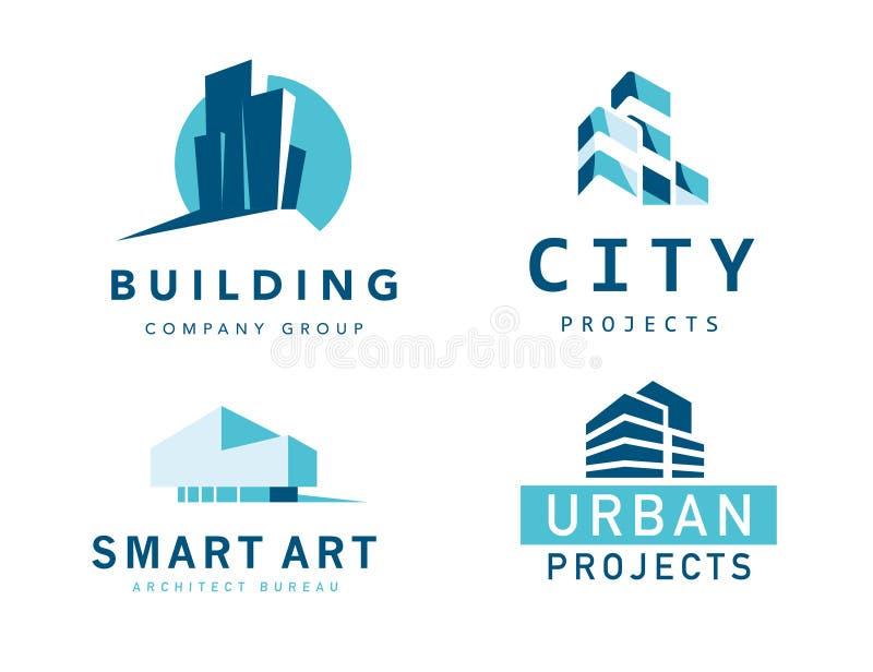 Vector la raccolta delle progettazioni piane alla moda semplici di logo dell'agenzia della società di costruzioni e dell'architet illustrazione di stock