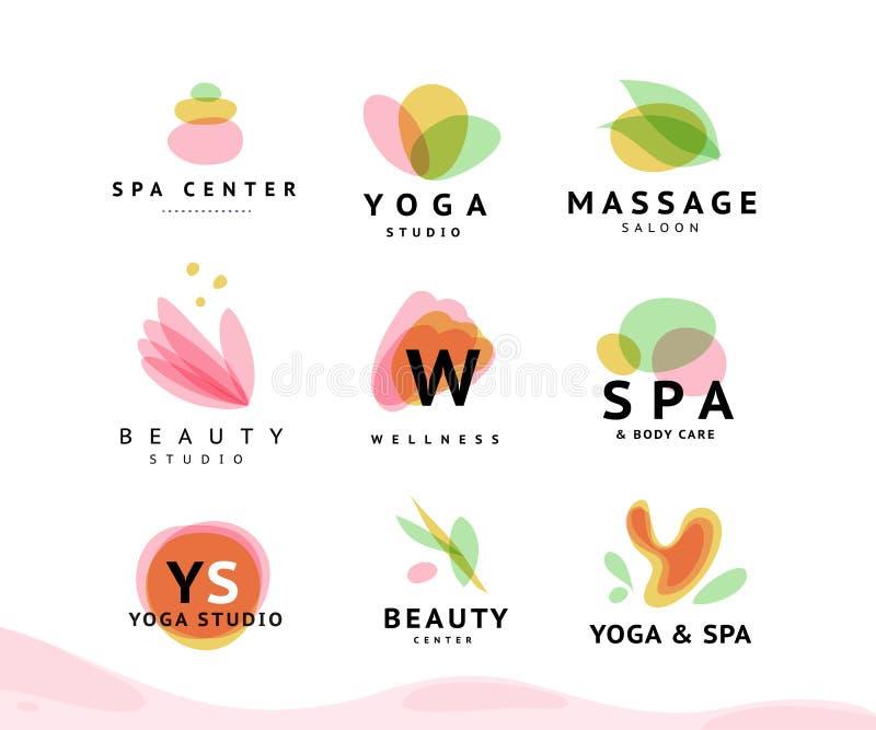 Vector la raccolta di bellezza trasparente, della stazione termale e dei simboli di yoga nei colori leggeri isolati su fondo bian royalty illustrazione gratis