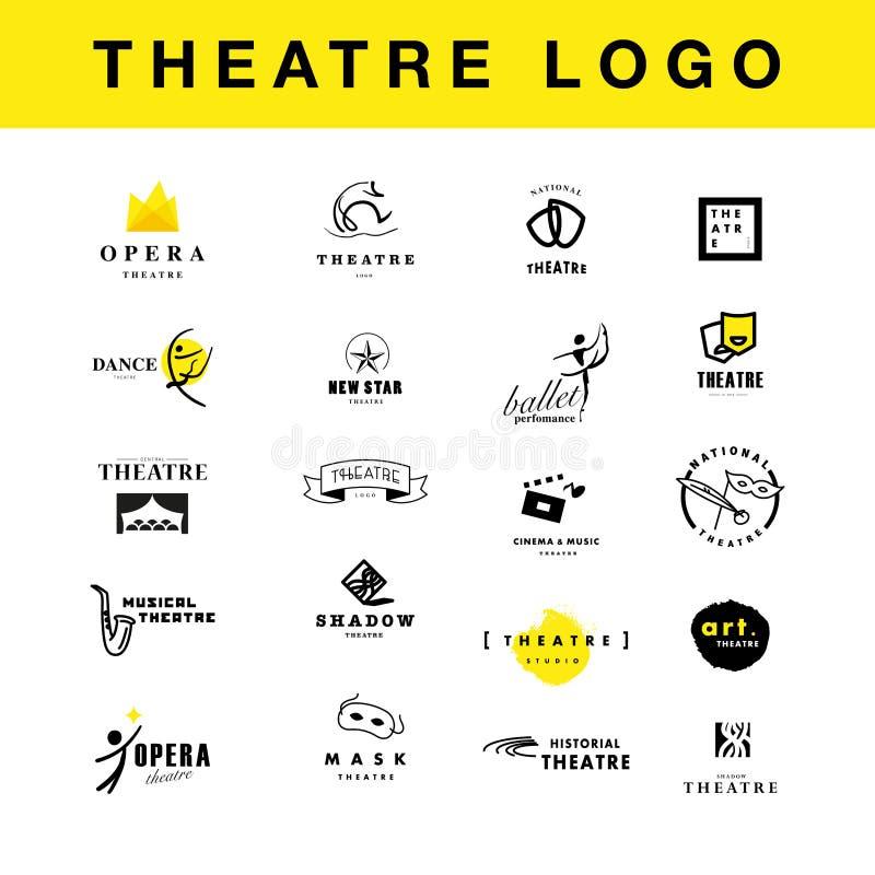 Vector la raccolta di progettazione del modello di logo della prestazione di balletto e del teatro illustrazione vettoriale