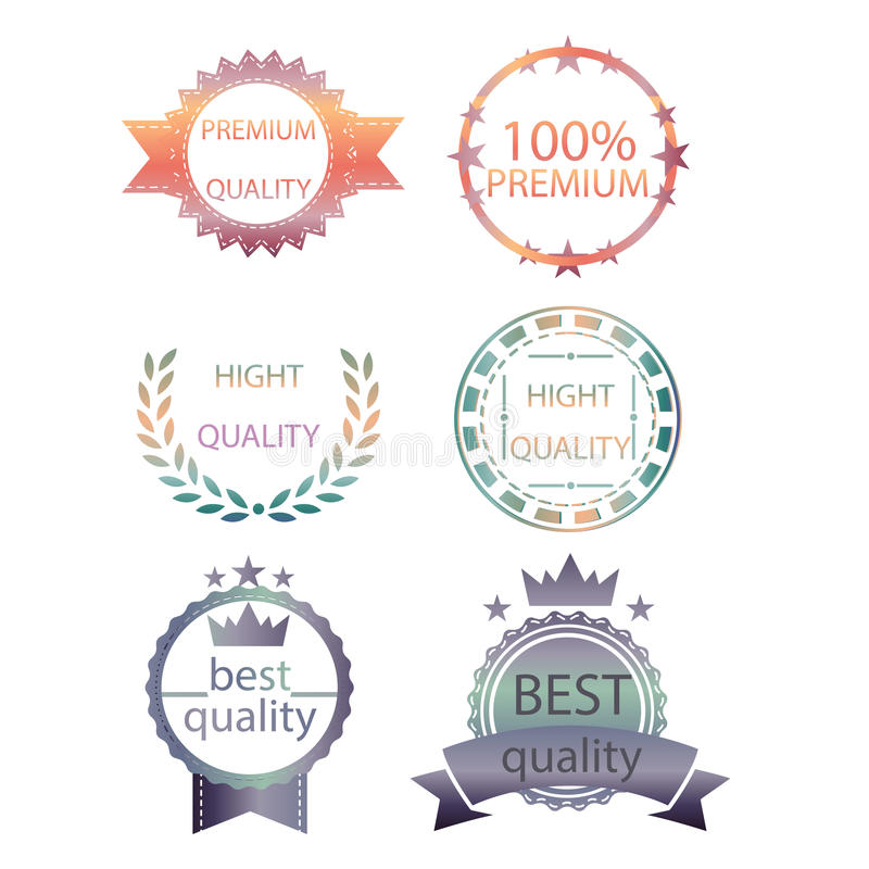 Vector la raccolta di qualità premio e garantisca la retro progettazione d'annata di stile delle etichette altezza stabilita dei  illustrazione di stock