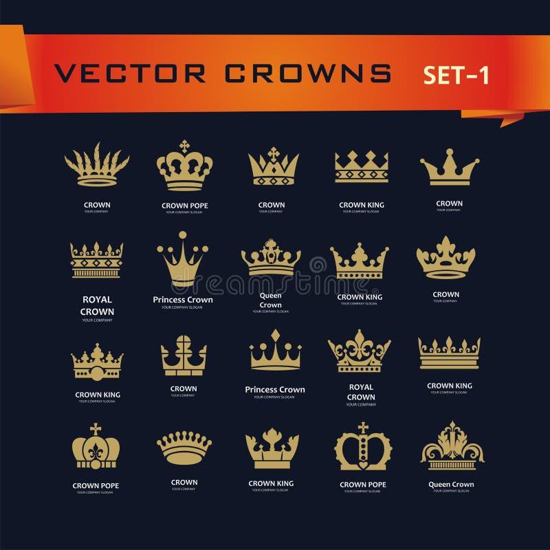 Vector la raccolta di re creativo, la regina, principessa, corone di papa royalty illustrazione gratis