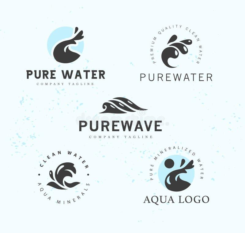Vector la raccolta piana dei logotypes puri dell'acqua isolati su fondo bianco illustrazione vettoriale