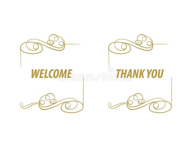 Vector la RECEPCIÓN de oro del lujo y GRACIAS firma, aislado en marcos caligráficos del fondo blanco stock de ilustración