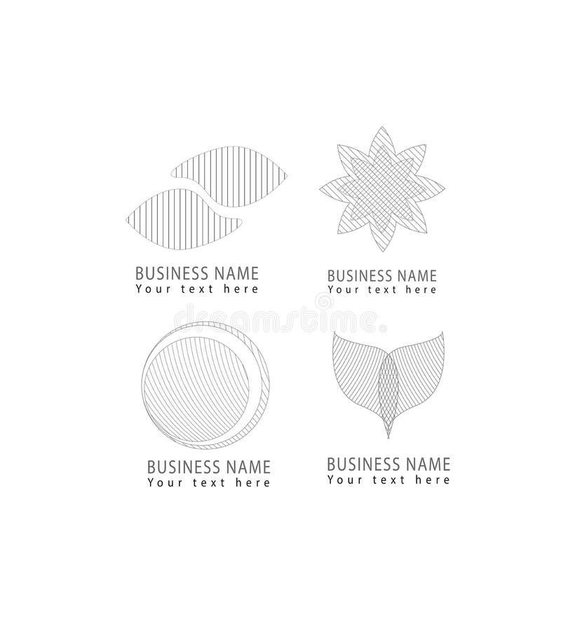 Vector la rejilla abstracta, ronda, flor, pétalos, iconos del logotipo del modelo de rejilla de las formas del círculo fijados pa ilustración del vector