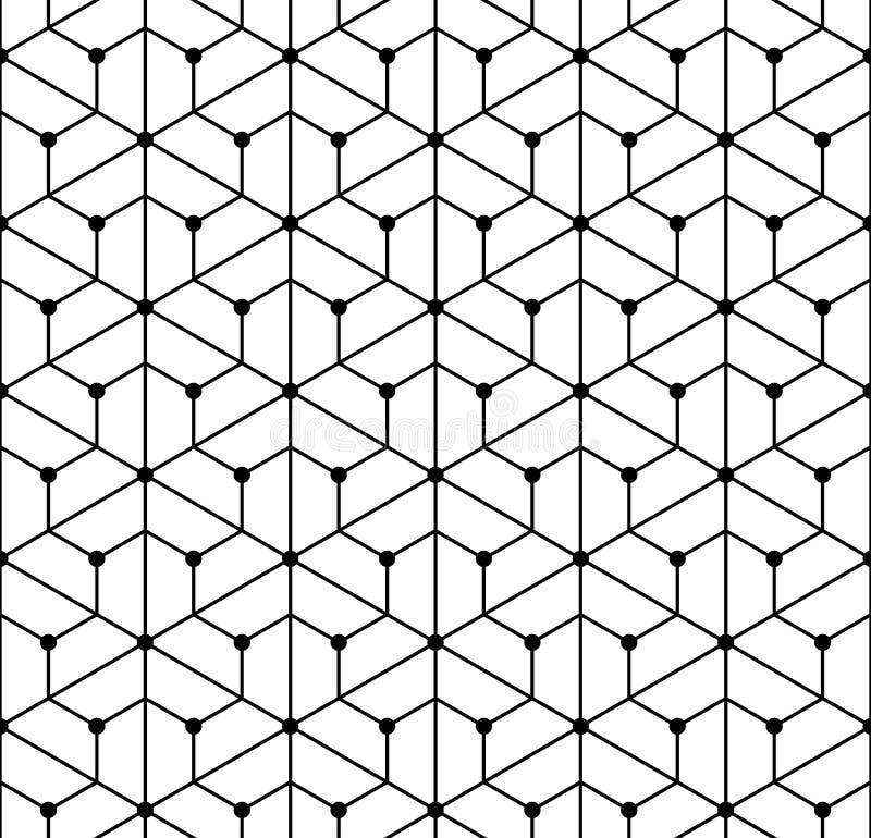 Vector la rejilla inconsútil moderna del modelo de la geometría, extracto blanco y negro libre illustration