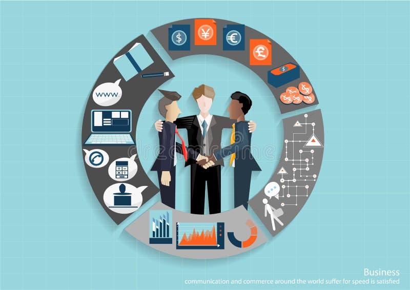 Vector la reunión del intercambio de ideas de los hombres de negocios en la oficina y la tecnología móvil de la tableta para comu stock de ilustración