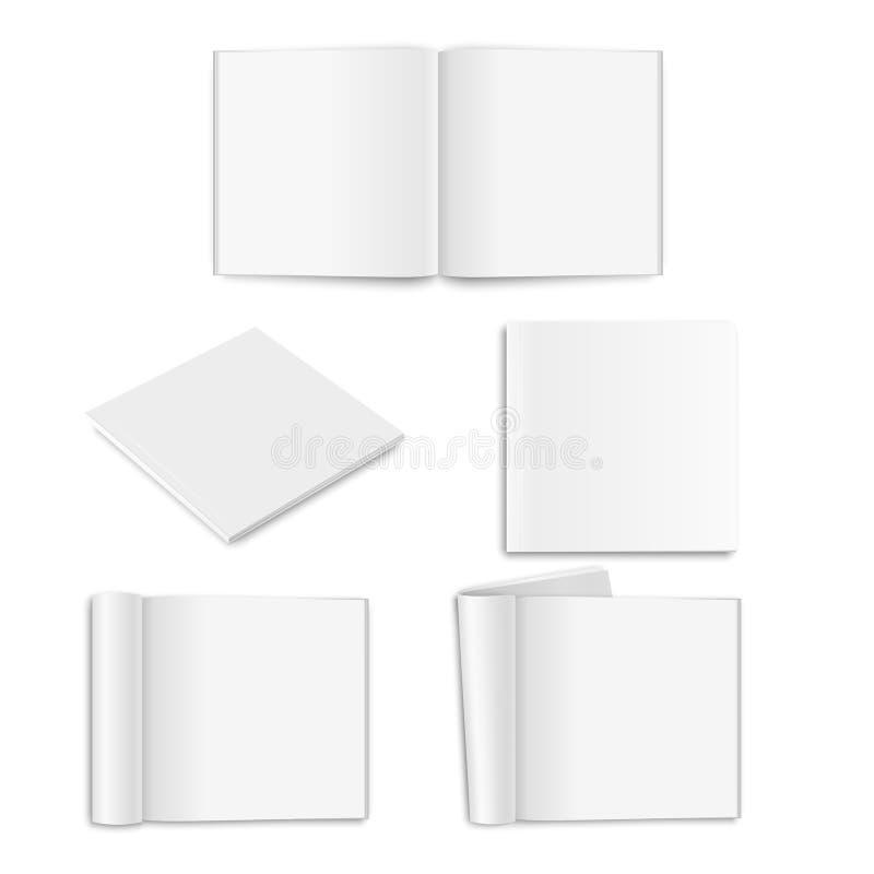 Vector la revista vacía realista del papel, el libro, el catálogo o el folleto cuadrado cerrado y abierto con las páginas rodadas ilustración del vector