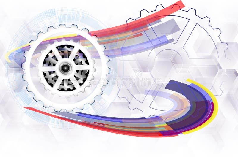 Vector la rueda de engranaje del ejemplo, la industria de alta tecnología de la tecnología digital y la ingeniería stock de ilustración