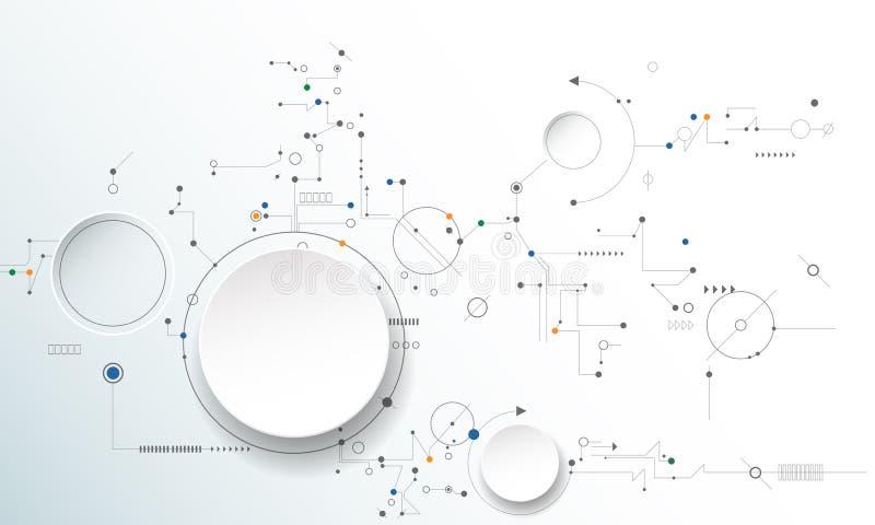 Vector la rueda de engranaje del ejemplo, los hexágonos y a la placa de circuito libre illustration