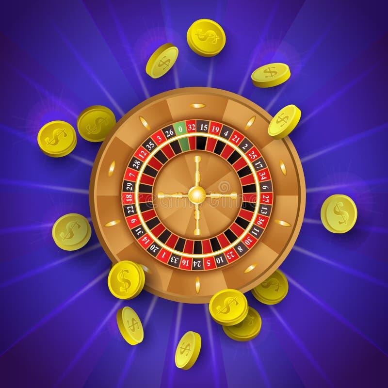 Vector la rueda de ruleta plana del casino, monedas de oro ilustración del vector