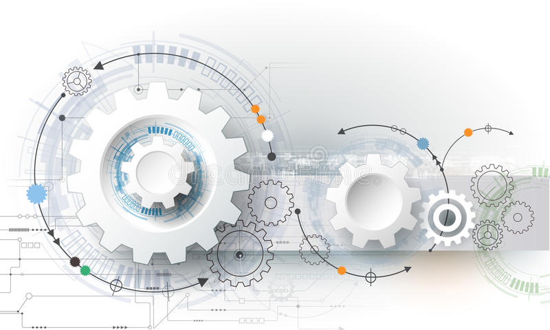 Vector la ruota di ingranaggio dell'illustrazione, esagoni e circuito, tecnologia digitale di Ciao-tecnologia e ingegneria illustrazione vettoriale