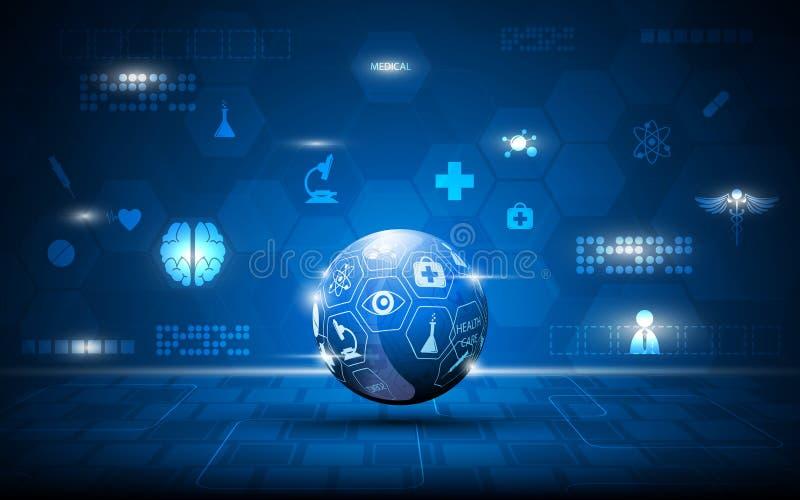 Vector la sanità astratta del globo ed il fondo medico di concetto royalty illustrazione gratis