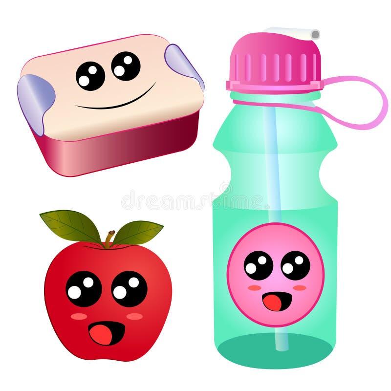 Vector la scatola del tiffin del pranzo del fumetto, la mela, bottiglia di acqua illustrazione di stock