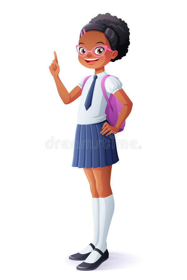 Vector la scolara abbastanza africana ottenuta l'idea ed il dito che indicano su royalty illustrazione gratis