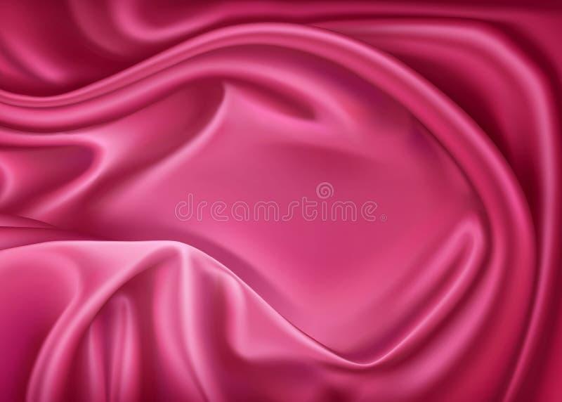 Vector la seda rosada realista de lujo, materia textil del satén stock de ilustración