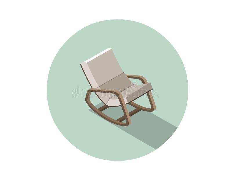 Vector la sedia di oscillazione moderna isometrica, elemento piano di interior design 3d illustrazione vettoriale