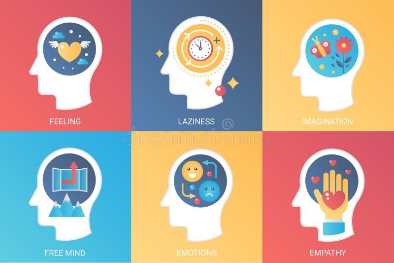 Vector la sensibilità di concetto, la pigrizia, l'immaginazione, la mente libera, le emozioni, empatia Stile piano di pendenza mo illustrazione di stock