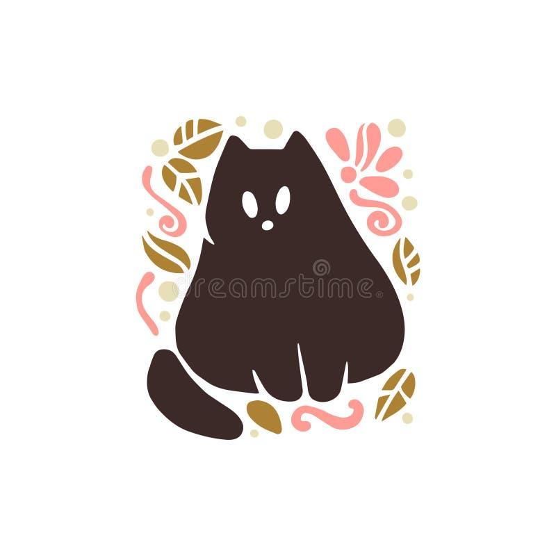 Vector la sentada animal dibujada mano divertida linda plana de la silueta del gato nacional aislada en el fondo blanco libre illustration