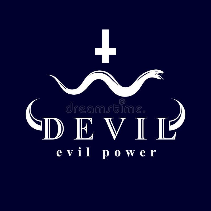 Vector la serpiente venenosa creada con un símbolo cruzado religioso E ilustración del vector