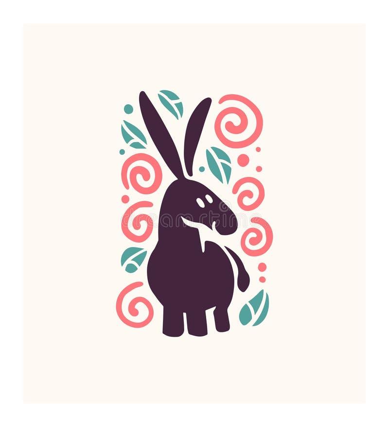 Vector la silueta animal dibujada mano divertida linda plana del burro aislada en el fondo blanco libre illustration