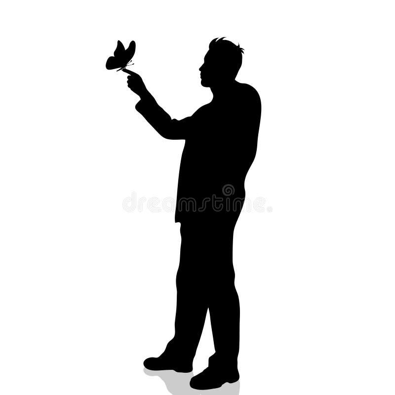 Vector la silueta de la mariposa del hombre en el fondo blanco stock de ilustración