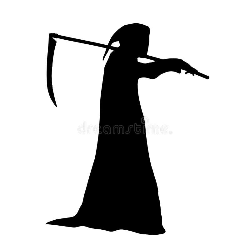 Vector la silueta de la muerte en una capilla que sostiene una guadaña sobre shoul libre illustration