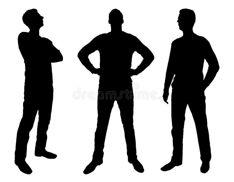 Vector la silueta de tres fuertes, hombres de negocios confiados stock de ilustración