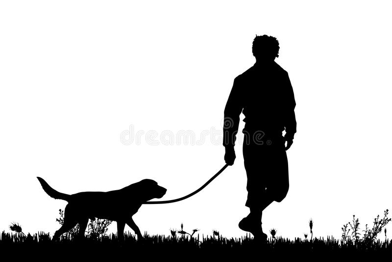Vector la silueta de un hombre con un perro libre illustration
