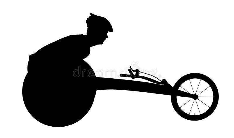 Vector la silueta del deportista inhabilitada en una silla de ruedas que compite con libre illustration