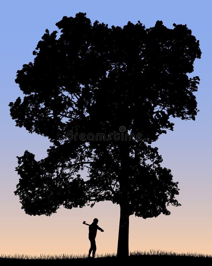 Vector la silueta del leñador que corta el árbol grande con un hacha stock de ilustración